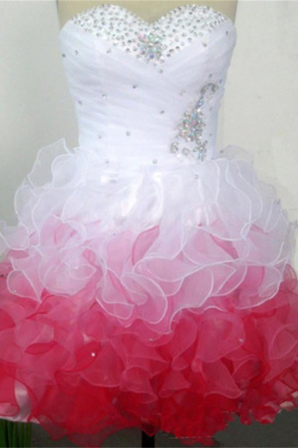Cute Sweetheart Beading Lace Up Short Homecoming Dresses For Girls K245
