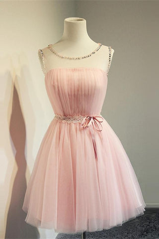 Cute Girly Pink Simple Handmade Short Homecoming Dresses K246