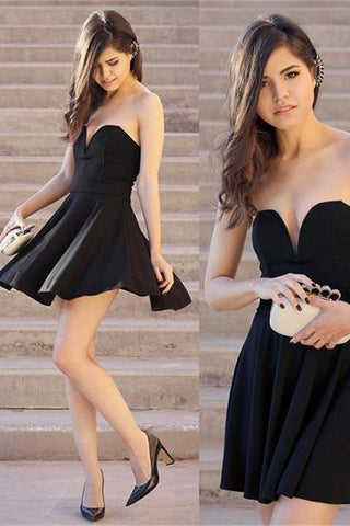 Simple High Quality Short Sweetheart Handmade Black Homecoming Dresses K249
