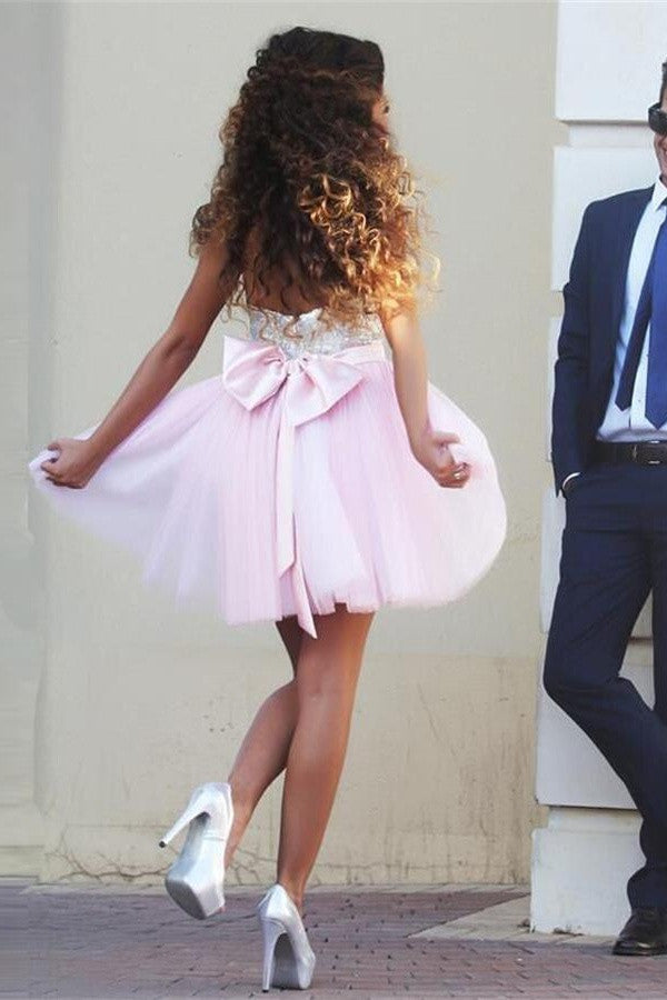 Girly Short Pink Sweetheart Homecoming Dresses With Big Bow K250