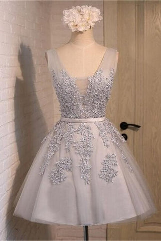 Pretty Charming V-neck Grey Lace Short Homecoming Dresses K255