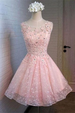 Beautiful Pink Lace Short Beading Lovely Homecoming Dresses K258