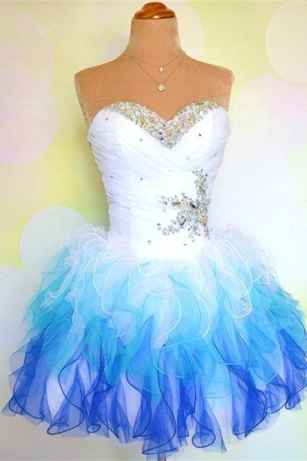 Pretty White And Royal Blue Short Sweetheart Homecoming Dresses K259