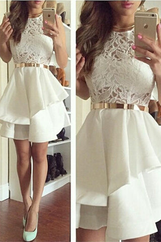 Ivory Lace Beautiful Short Homecoming Dresses With Gold Belt K260