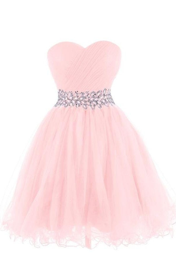 Real Cute Girly Simple Handmade Strapless Homecoming Dresses For Girls K264