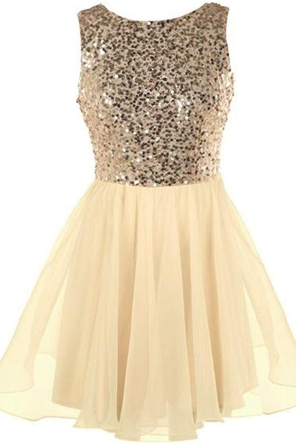 Sequin Shiny Short Chiffon Simple Handmade Homecoming Dresses K267