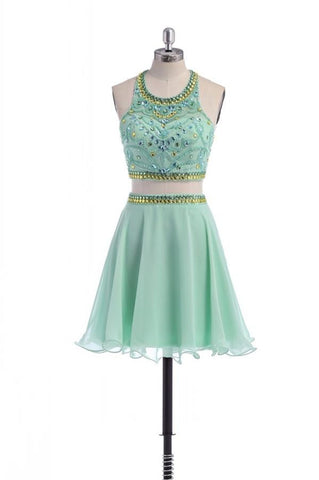 Classy Cute Mint Beaded Two Pieces Open Back Homecoming Dresses K268