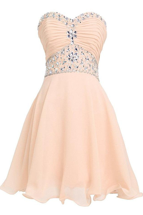 Lovely Short Beading Chiffon Strapless Cute Homecoming Dresses For Teens K278