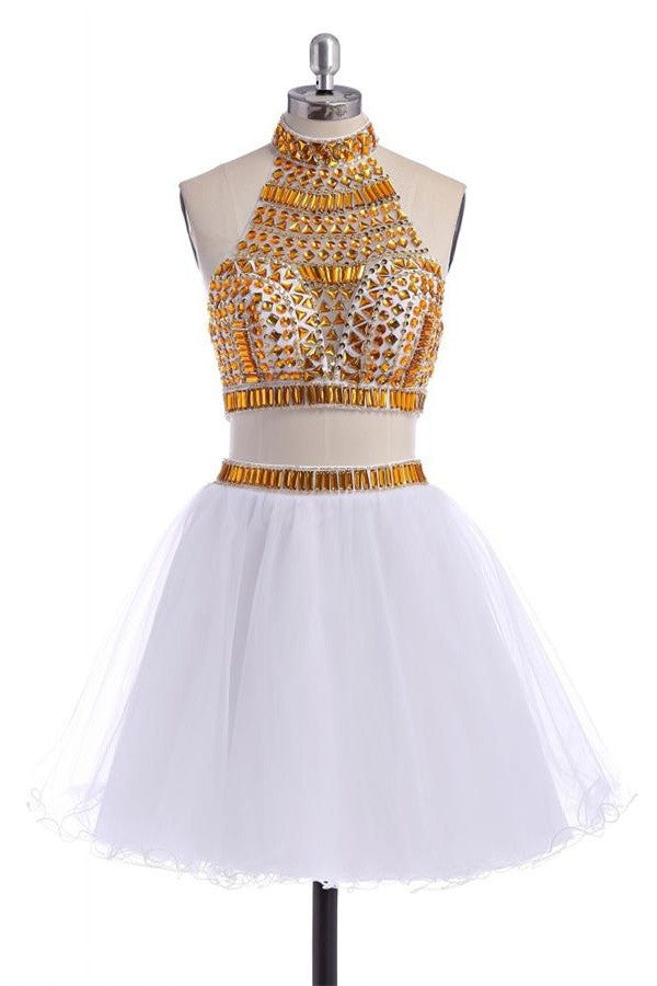 Sparkly 2 Pieces White Short Halter Homecoming Dresses K282