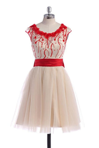 Pretty Skirt With Red Beads Homecoming Dresses K283