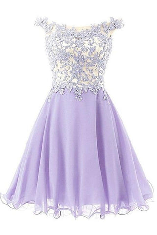 Violet Short Chiffon Lace Handmade Free Shipping Homecoming Dresses K285