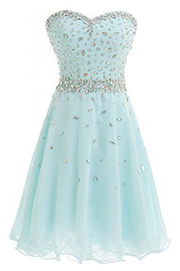 Mint Sweetheart Chiffon Strapless Beading Homecoming Dresses K286
