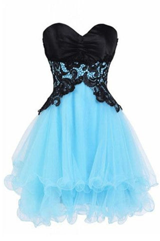 Ice Blue Skirt With Black Lace Top Short Pretty Homecoming Dresses K287