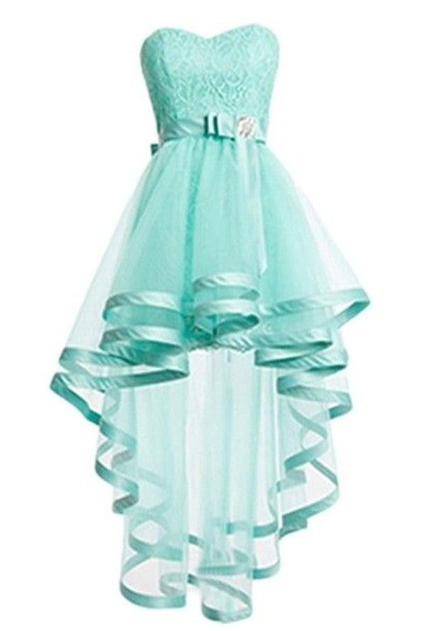 Short Front Long Back Pretty Tulle Mint Homecoming Dresses K288