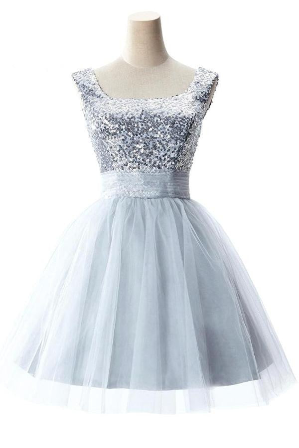 Cute Short Girly Silver Homecoming Dresses With Straps K289