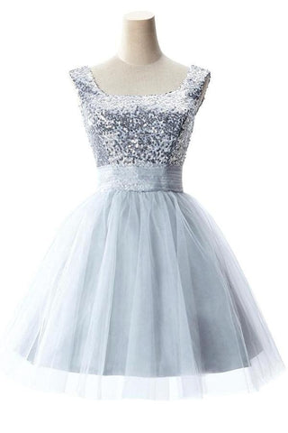 Cute Short Girly Silver Homecoming Dresses With Straps – Okdresses
