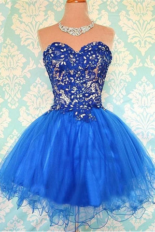 Sparkly Royal Blue Short Tulle Sweetheart Homecoming Dresses K290