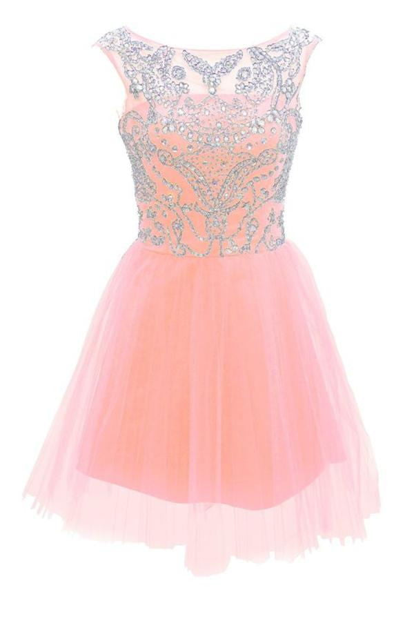 Pretty Handmade Girly Pink Cute Homecoming Dresses For Teens K291