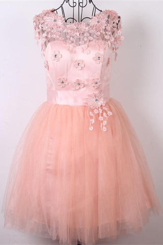 Beautiful Appliques Pink Cap Sleeves Short Homecoming Dresses K292