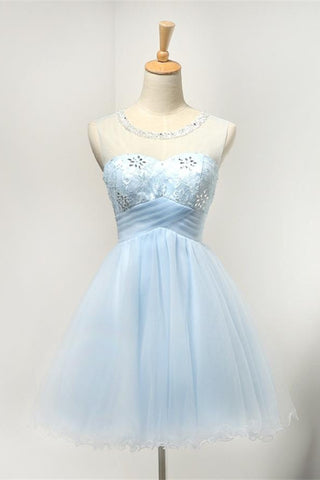 Light Blue Short Tulle Classy Girly Homecoming Dresses K294