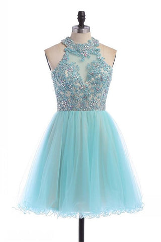 Charming Halter Lace Beading Handmade Short Tulle Homecoming Dresses K295