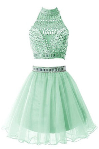 Green Two Pieces Short Halter Beautiful Handmade Homecoming Dresses K297