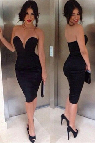 Sexy Mermaid Black Short V-neck Strapless Homecoming Dresses K301