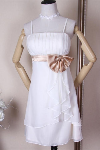 Elegant Simple White Chiffon Short Homecoming Dresses K306