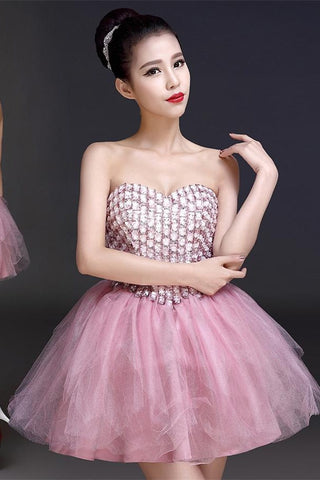 Cute Handmade Pink Beaded Sweetheart Homecoming Dresses K308