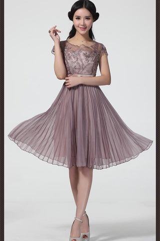 Tiered Chiffon Handmade Pretty Zipper Back Homecoming Dresses K309