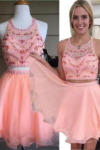 Pretty Pink Handmade Cute Girly Beading Homecoming Dresses K312
