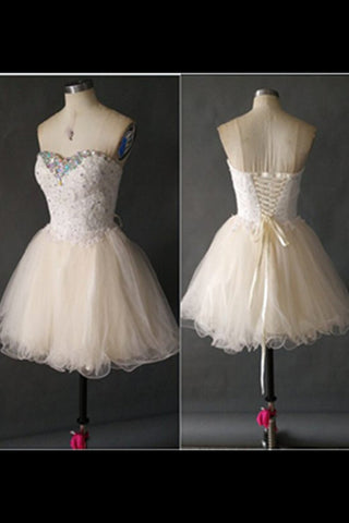 Short Lace Up Light Cheap Cute Homecoming Dresses  K329