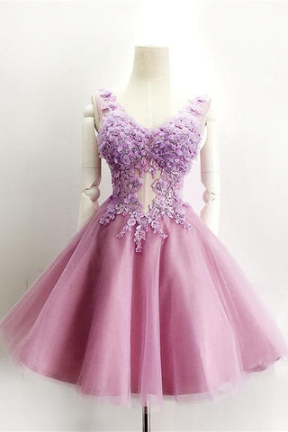 Pretty Pink A-line Lace V-neck Sparkly Homecoming Dresses K337
