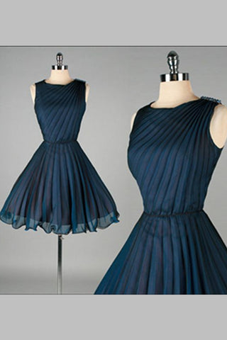 High Quality Simple Navy Blue Short Chiffon Classy Homecoming Dresses K339