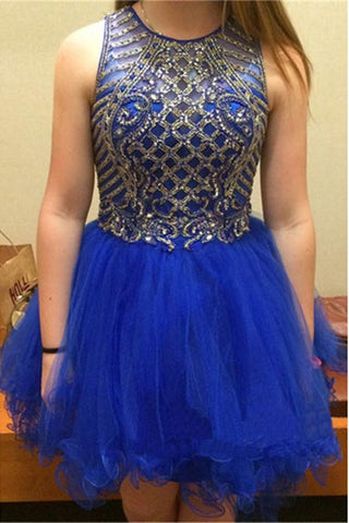 Sparkly Short Royal Blue Tulle Homecoming Dresses For Teens K340
