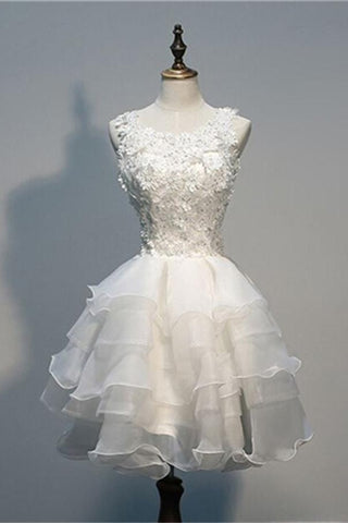 Nice White Lace Short Handmade Tulle Charming Homecoming Dresses K341