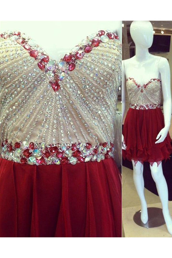 Sparkly Red Chiffon Beading Sweetheart Homecoming Dresses K342