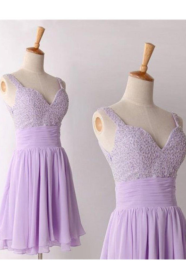 Violet Short Chiffon Beading Homecoming Dresses With Straps K343