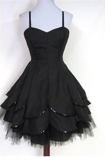 Spaghetti Straps Black Tulle Formal Sparkly Homecoming Dresses K351