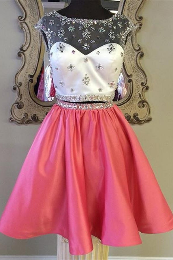 Red Satin Two Pieces Beaded Cute Girly Homecoming Dresses K353