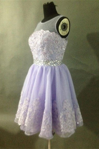 Lace Violet A-line Pretty Cap Sleeves Beaded Homecoming Dresses K361