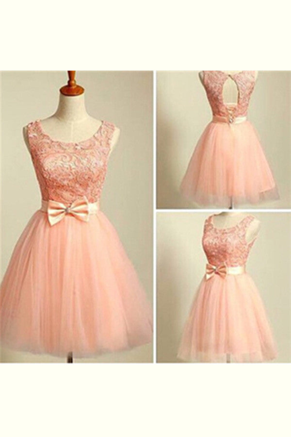 Cute Backless Lace Up Pink Lace Homecoming Dresses With Bow Belt K363