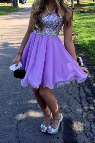 Purple Chiffon Handmade Charming Sweetheart Homecoming Dresses K366