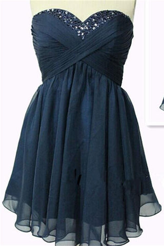 Strapless Navy Blue Chiffon High Low Homecoming Dresses Short Prom Dresses K367