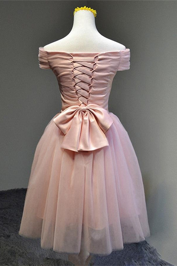 Elegant Beautiful Pink Boat Neckline Lace Up Short Homecoming Dresses K368