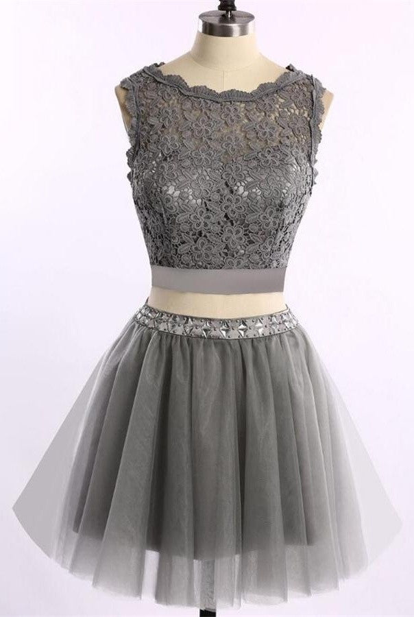 Beautiful Two Pieces Lace Silver Grey Classy Homecoming Dresses K369