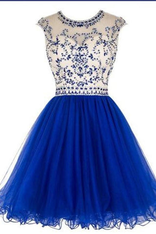 Sparkle Charming Royal Blue Beading Pretty Homecoming Dresses K377