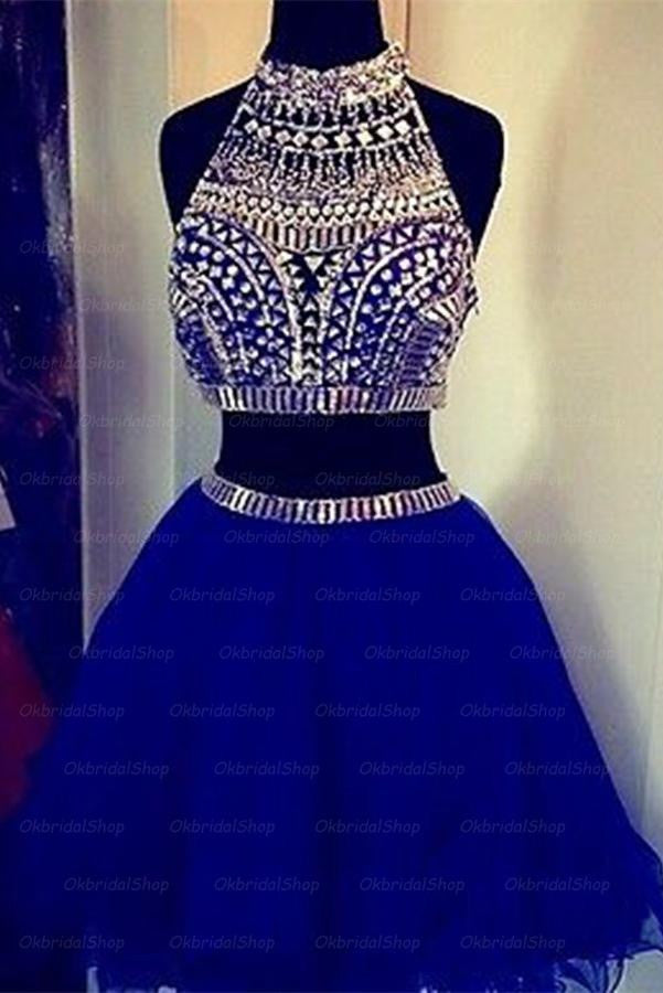 Sparkly Royal Blue Short High Neck Beaded Homecoming Dresses K384