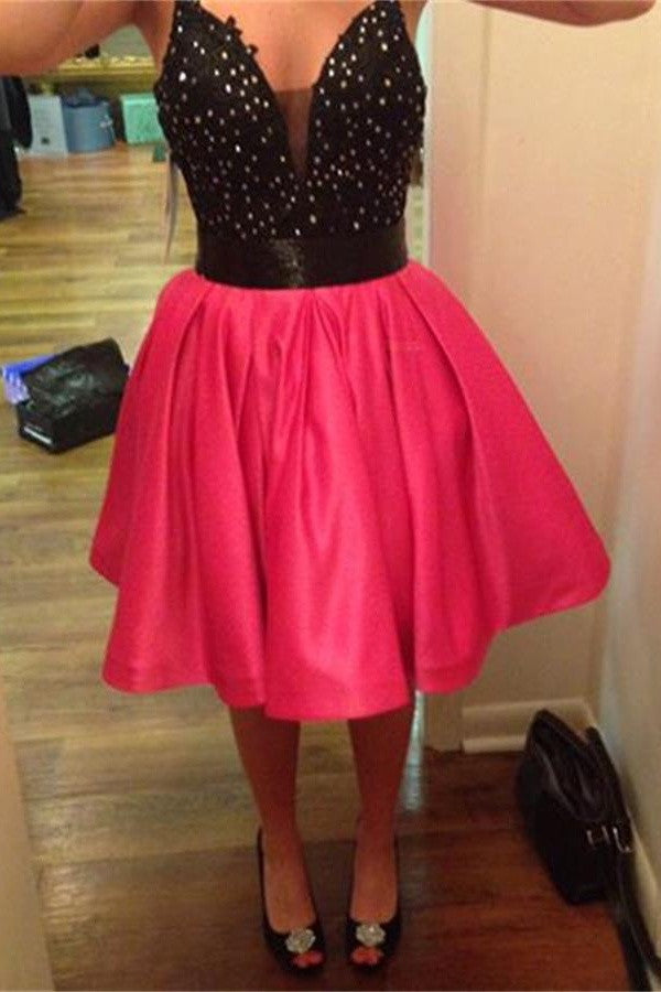Hot Pink Open Back Short Beading Lace Homecoming Dresses K393