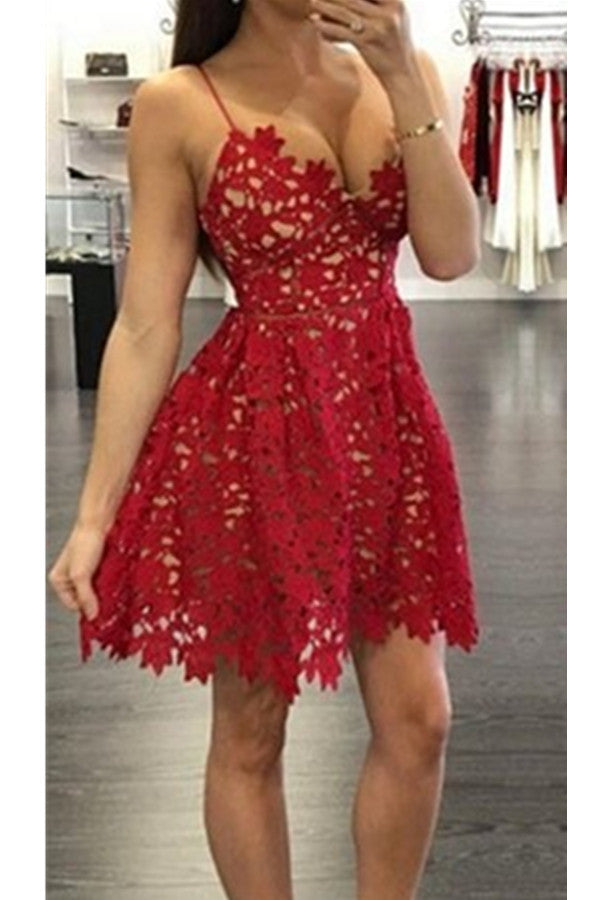 Spaghetti Straps Short Cute Red Lace V-neck Homecoming Dresses K400
